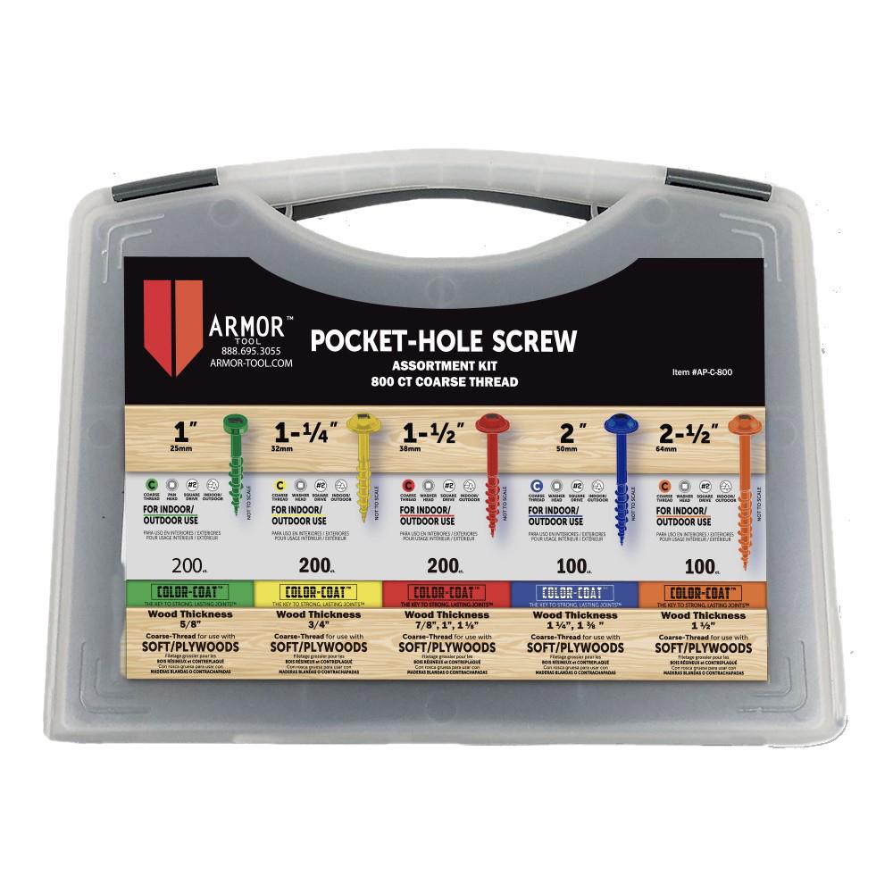 Color-Coat Pocket Hole Screw Set, Coarse, 800 Piece