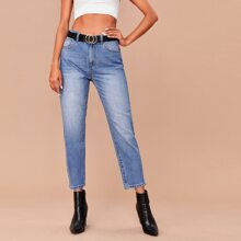 Raw Hem Jeans Without Belt
