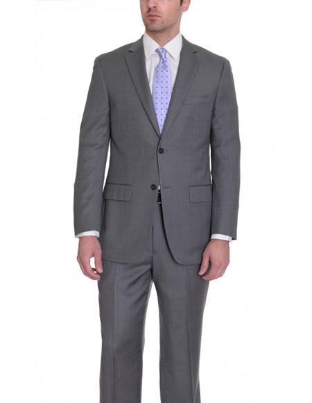 Mens Charcoal Gray Birdseye 2 Button Single Breasted Wool Suit