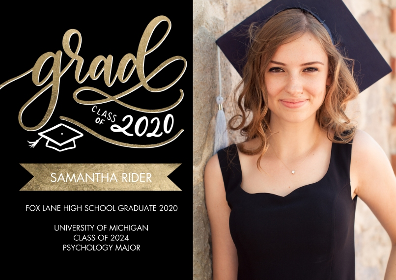 2020 Graduation Announcements 5x7 Cards, Standard Cardstock 85lb, Card & Stationery -Grad Class of 2020 Banner by Tumbalina