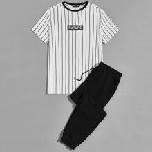 T-Shirt mit Buchstaben Grafik & Jogginghose Set