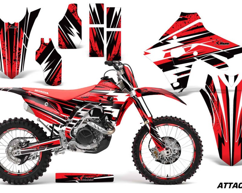 AMR Racing Graphics MX-NP-HON-CRF450R-CRF450RX-17+-AT R Decal Sticker Wrap + # Plates For Honda CRF450R | CRF450RX 2017+áATTACK RED