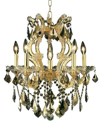 2800D20G-GT/SS 2800 Maria Theresa Collection Hanging Fixture D20in H25in Lt: 5+1 Gold Finish (Swarovski Strass/Elements Golden