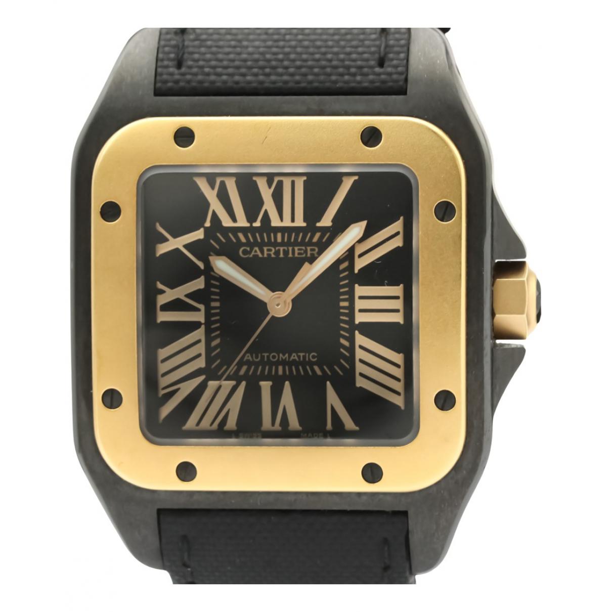 Cartier - Montre Santos 100 pour homme en or et acier - noir