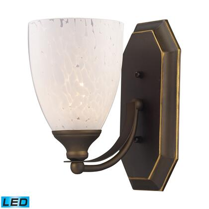 570-1B-SW-LED 1 Light Vanity in Aged Bronze and Snow White Glass -