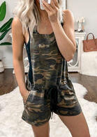 Camouflage Drawstring Pocket Romper without Necklace