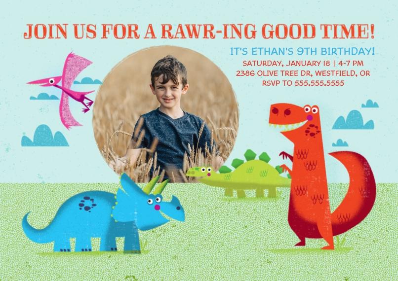 Kids Birthday Party Invites 5x7 Cards, Premium Cardstock 120lb with Elegant Corners, Card & Stationery -RAWRing Dinosaur Birthday
