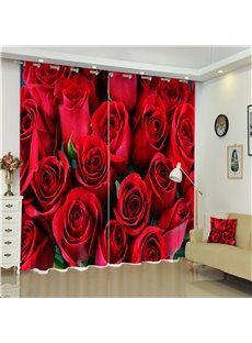 Fresh Red Roses Printed Modern and Romantic Style 2 Pieces Bedroom Curtain