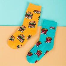2 Paare Socken mit Hamburger Muster