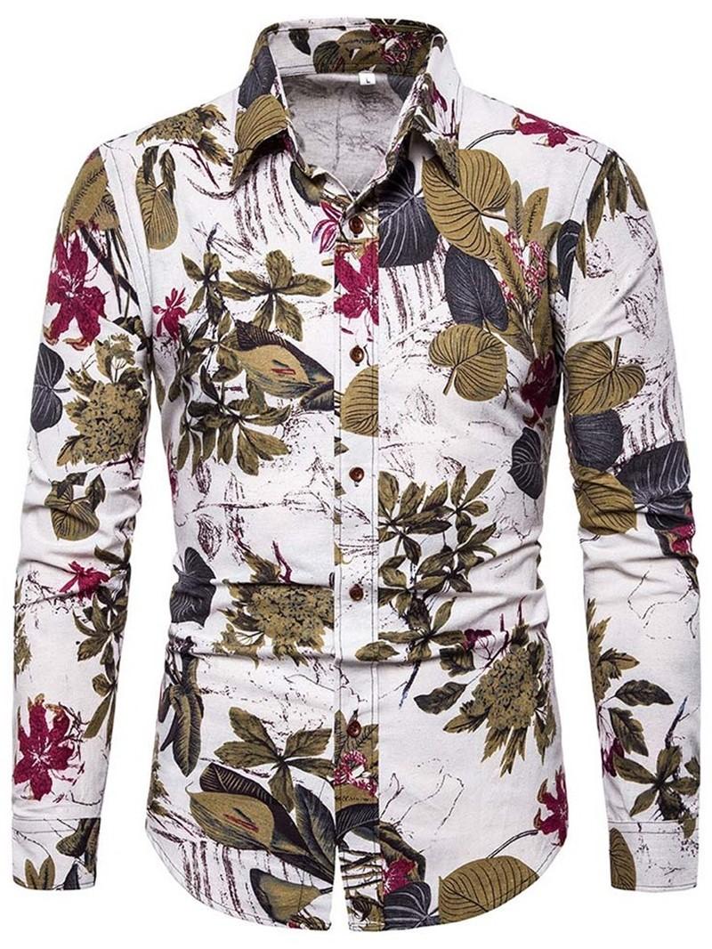 Ericdress Print Color Block Single-Breasted Mens Shirt