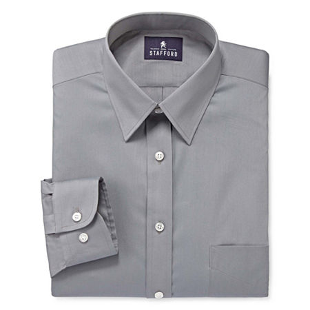 Stafford Mens Comfort Stretch Dress Shirt, 17 34-35, Gray