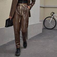 Fold Pleated Front Slant Pocket PU Leather Pants