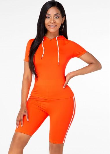 Short Sleeve Drawstring Top and Side Stripe Shorts - XL