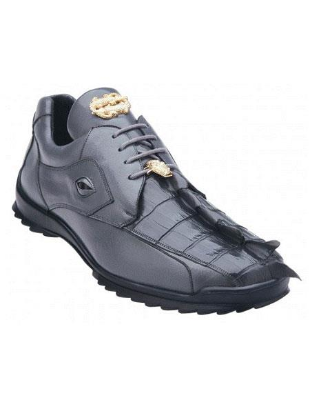 Belvedere Vasco Spring Grey Hornback Crocodile Soft Casual Sneakers