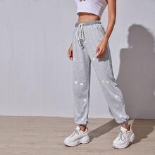 Daisy Print Drawstring Waist Sports Sweatpants