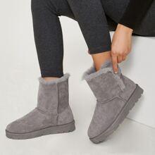Faux Suede Plush Fur Trim Ankle Boots