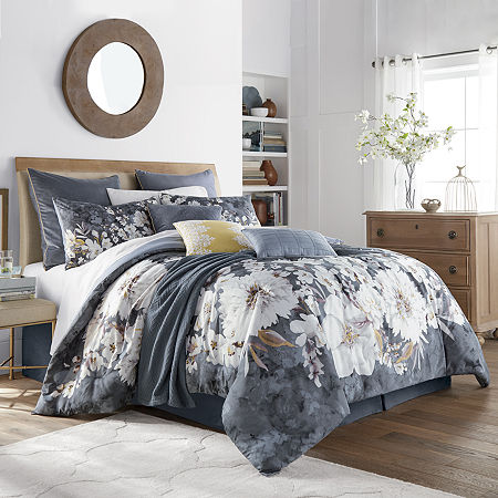 JCPenney Home Rowan 10-pc. Floral Comforter Set, One Size , Blue