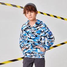 Boys Zip Up Pouch Pocket Patched Detail Camo Teddy Hoodie