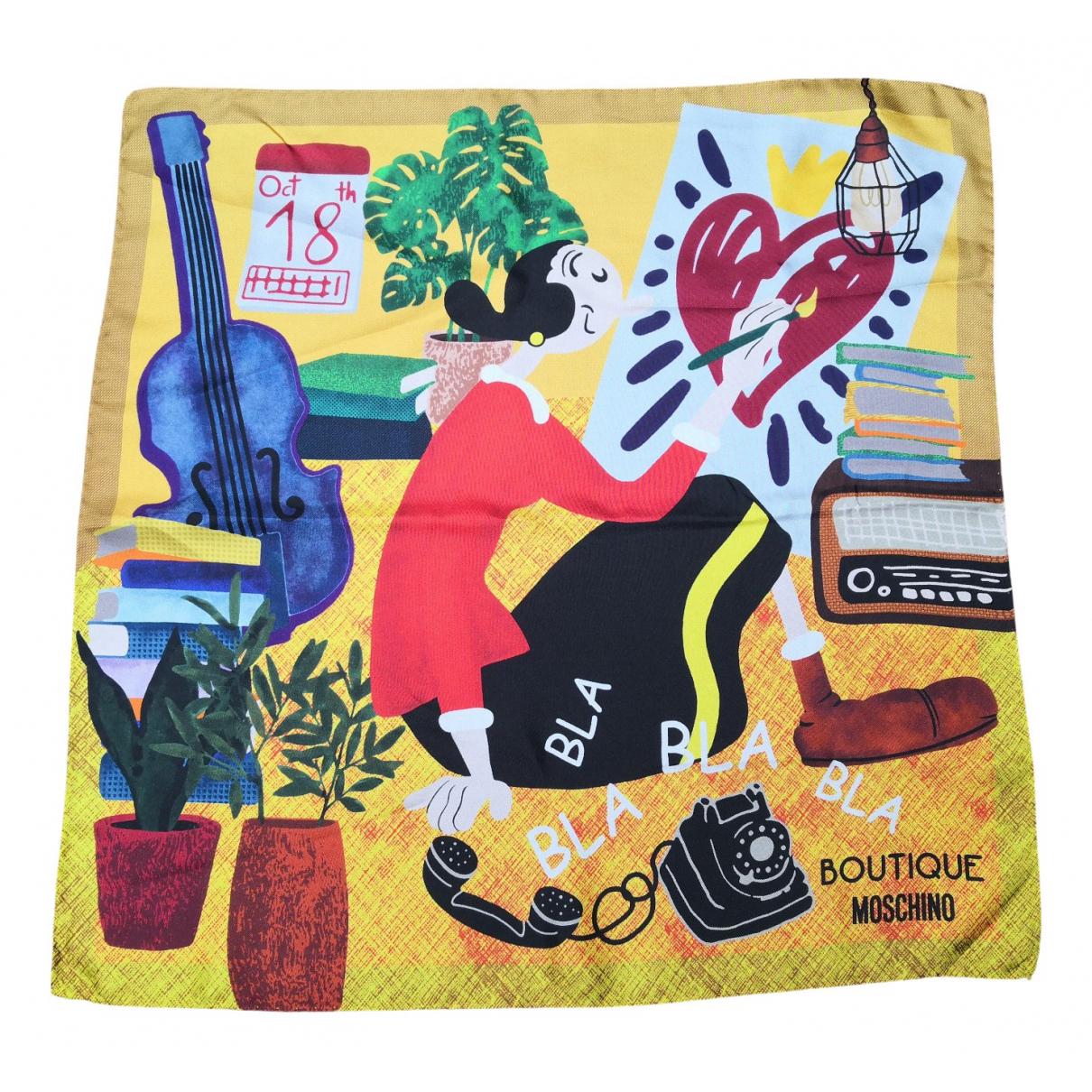 Moschino - Foulard   pour femme en soie - jaune