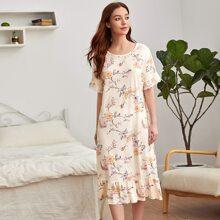 Nachtkleid mit Kontrast Spitzen, Blumen Muster und Rueschen