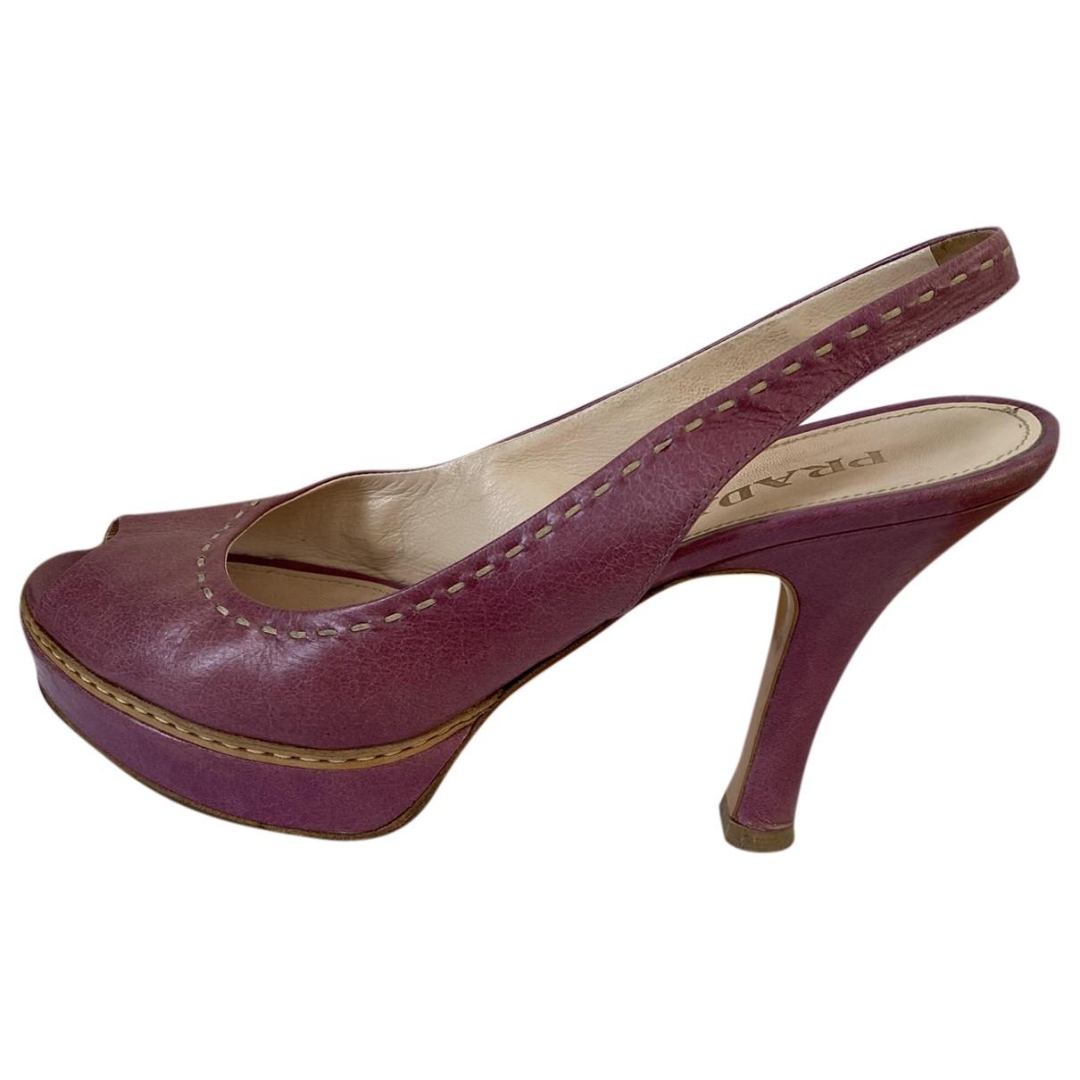 Prada - Escarpins   pour femme en cuir - rose
