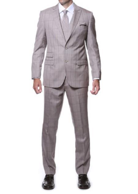 Zillo Sierra Tan 3 Piece Vested Slim Fit Plaid Suit