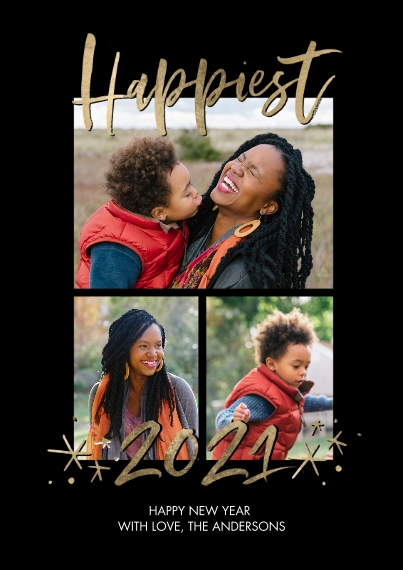 New Year's Photo Cards 5x7 Cards, Standard Cardstock 85lb, Card & Stationery -2021 Happiest Stars by Tumbalina
