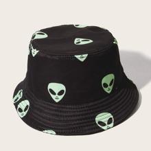 Men Alien Pattern Bucket Hat