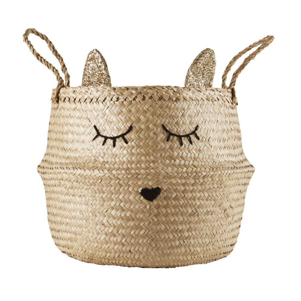 Katzenkorb aus geflochtener Pflanzenfaser und schwarzer Wolle