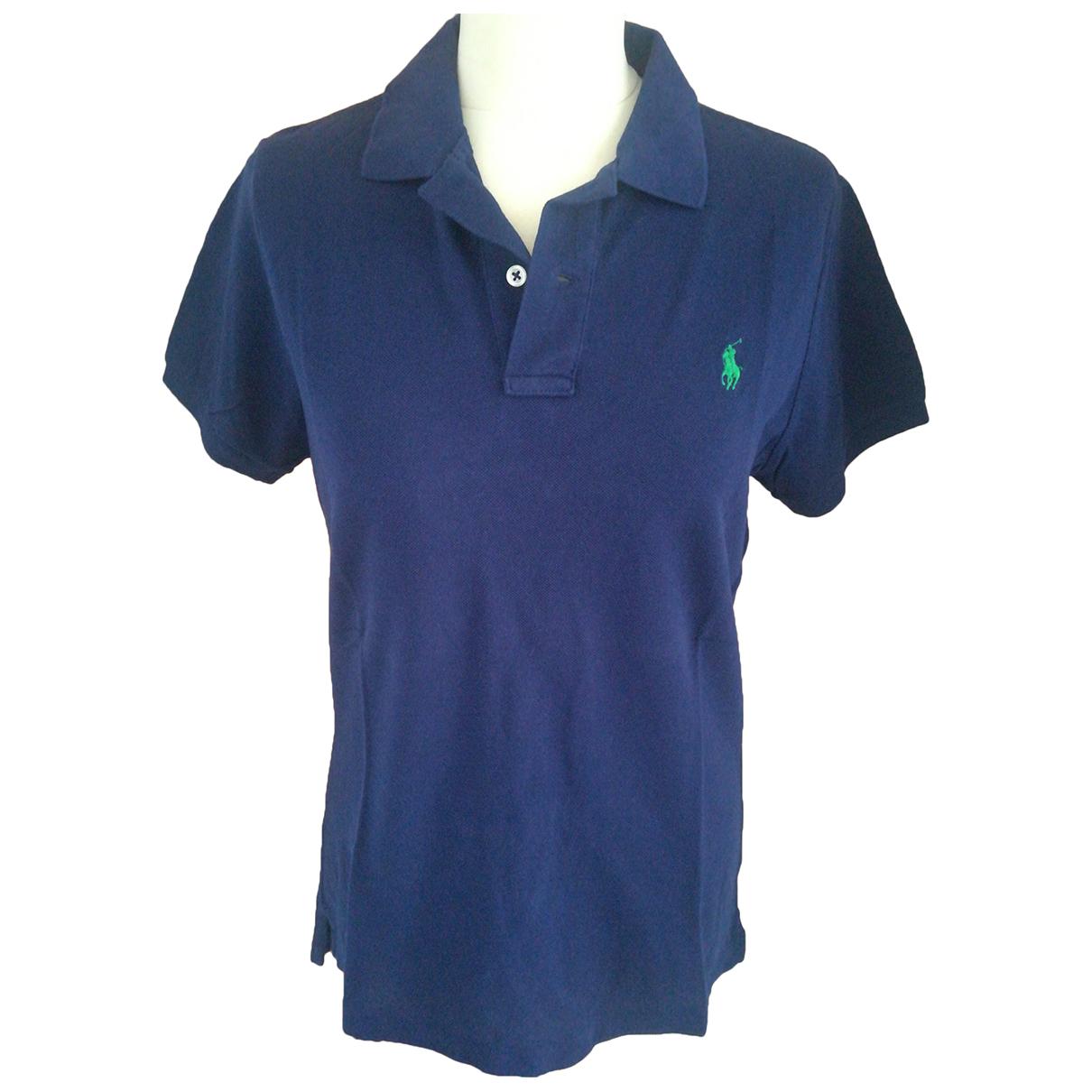 Polo Ralph Lauren Polo ajusté manches courtes Blue Cotton  top for Women L International