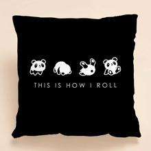 Kissenbezug mit Karikatur Panda Muster ohne Fuelle