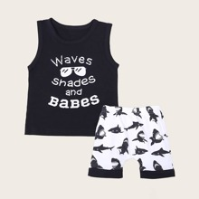 Toddler Boys Letter Graphic Tank Top & Shorts