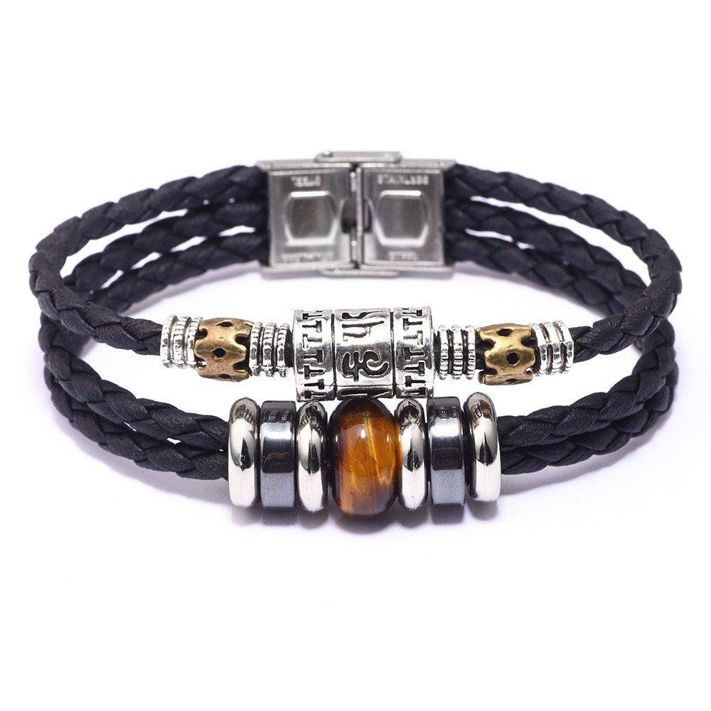 Vintage Turquoise Bracelet Stainless Steel Accessories Men Bracelet Leather Multilayer Bracelet