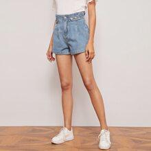 Denim Shorts mit Papiertasche Taille und geradem Beinschnitt