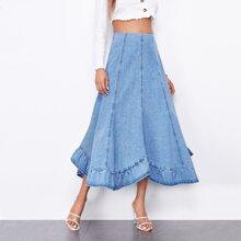 Zip Back High Waist Ruffle Hem Denim Skirt