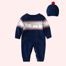 Pullover Jumpsuit mit Baer Muster & Hut