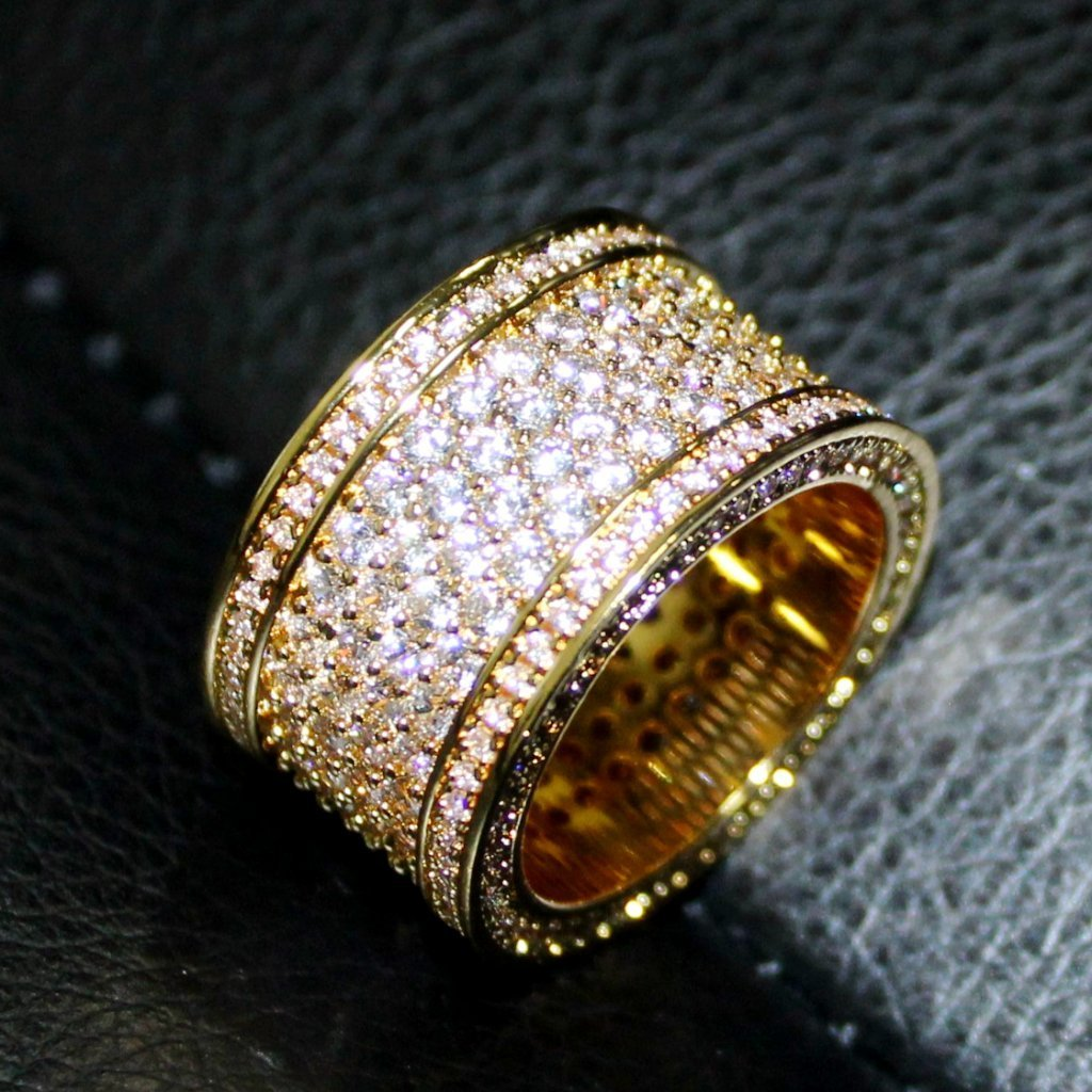 .925 Silver Fat 6 Row Eternity Bling Bling CZ Ring in Gold