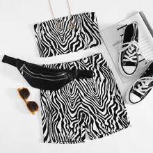 Zebra Stripe Tube Top & Biker Shorts Set