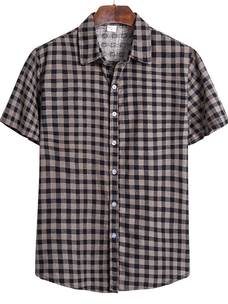 Ericdress Lapel Plaid Casual Single-Breasted Mens Slim Shirt