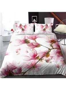 Pink Peach Blossom 3D Printed Polyester 1-Piece Warm Quilt