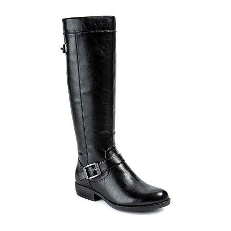 Yuu Womens Jaxette Riding Boots Stacked Heel, 8 Medium, Black