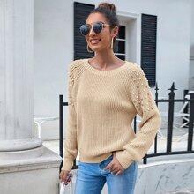 Raglan Sleeve Pearls Beaded Solid Sweater
