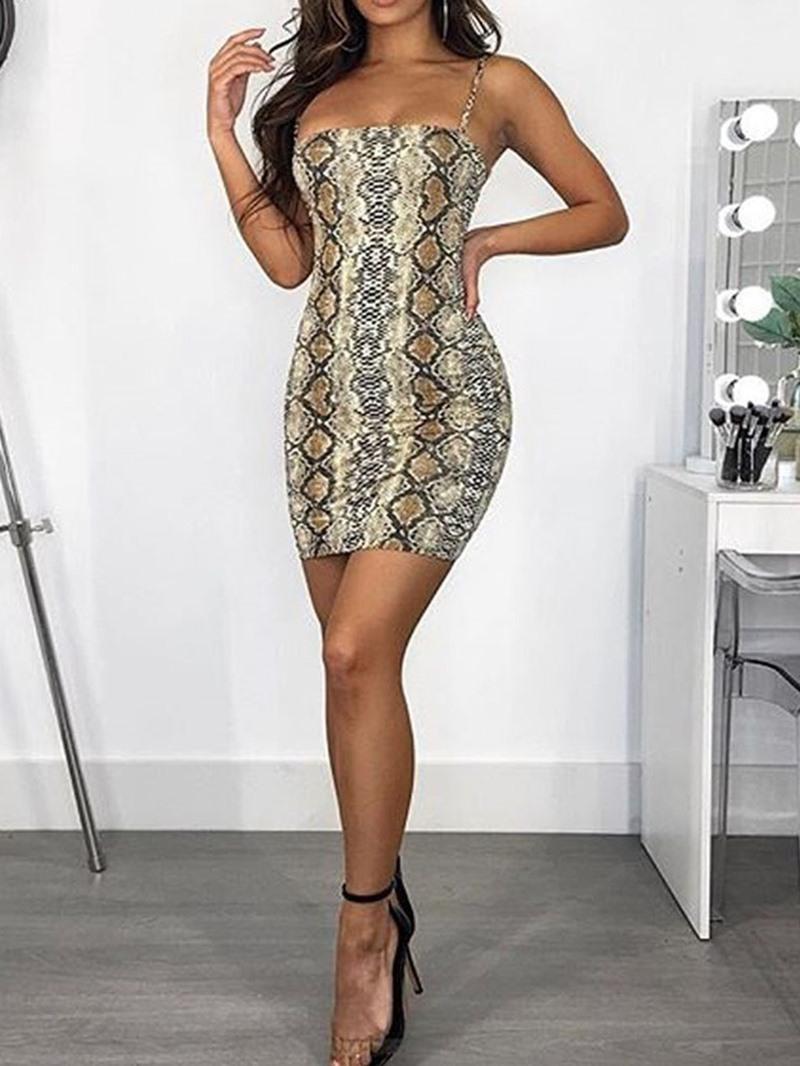 Ericdress Snake Print Above Knee Sleeveless Sexy Bodycon Dress