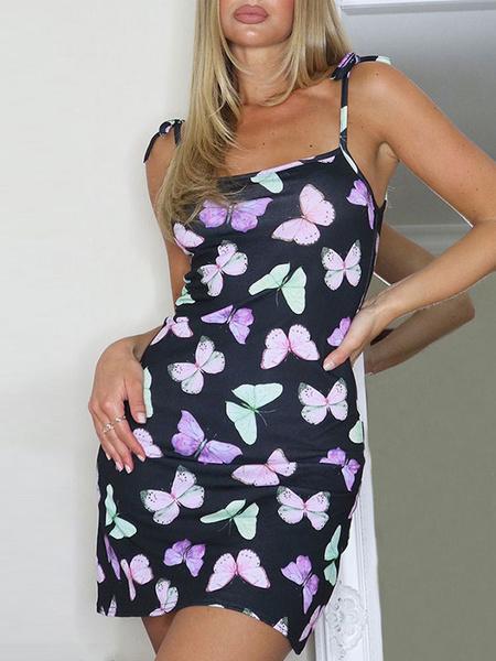 Milanoo Butterfly Bodycon Dresses Black Sexy Sleeveless Pencil Dress