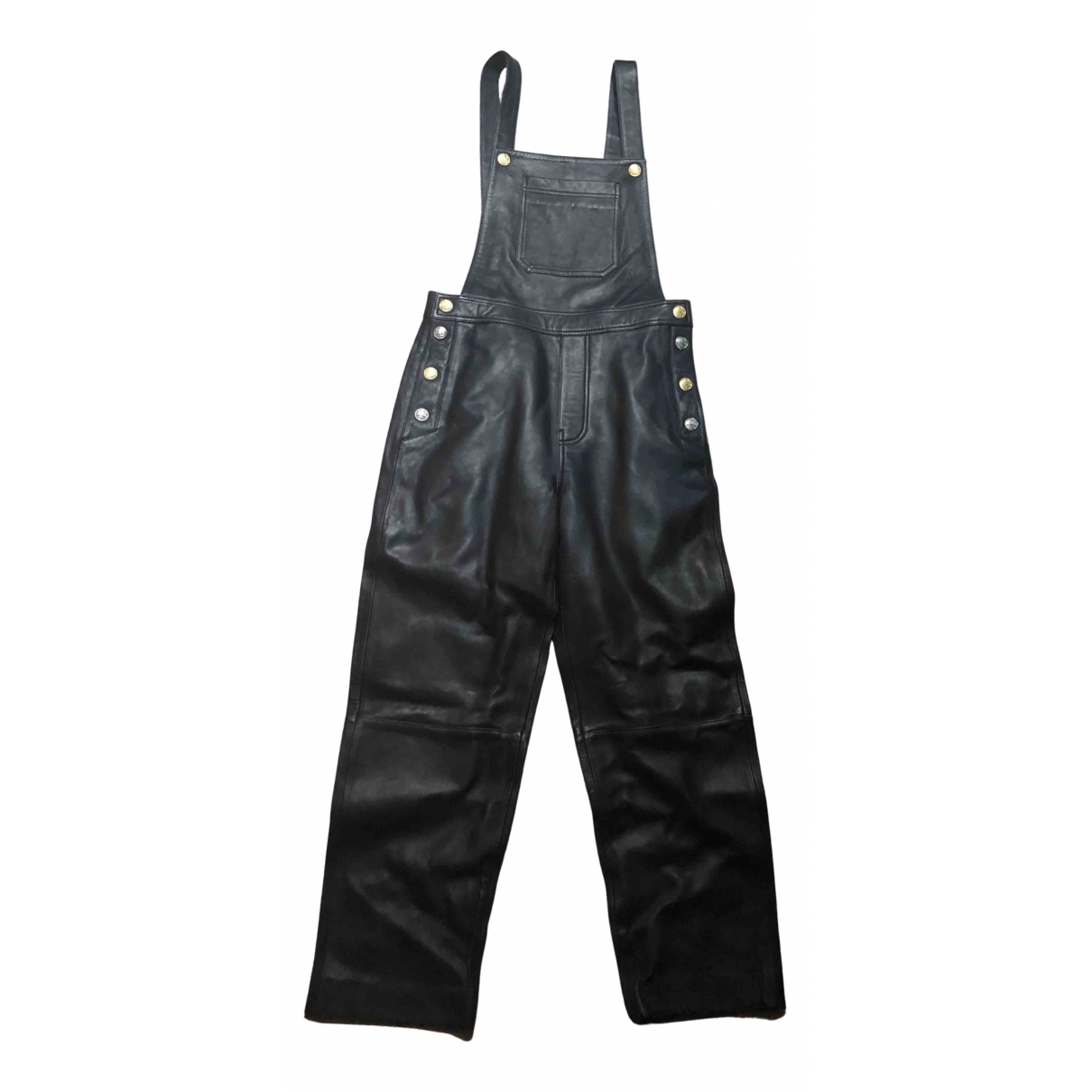 Claudie Pierlot \N Black Leather jumpsuit for Women 36 FR