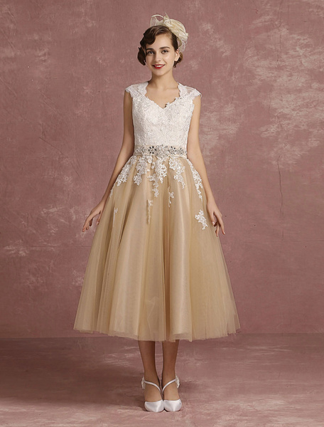 Milanoo Vintage Wedding Dress Short Champagne Lace Applique Bridal Gown Queen Anne Neck Keyhole Bridal Dress Tea Length