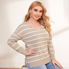 Plus V-neck Striped High Low Sweater