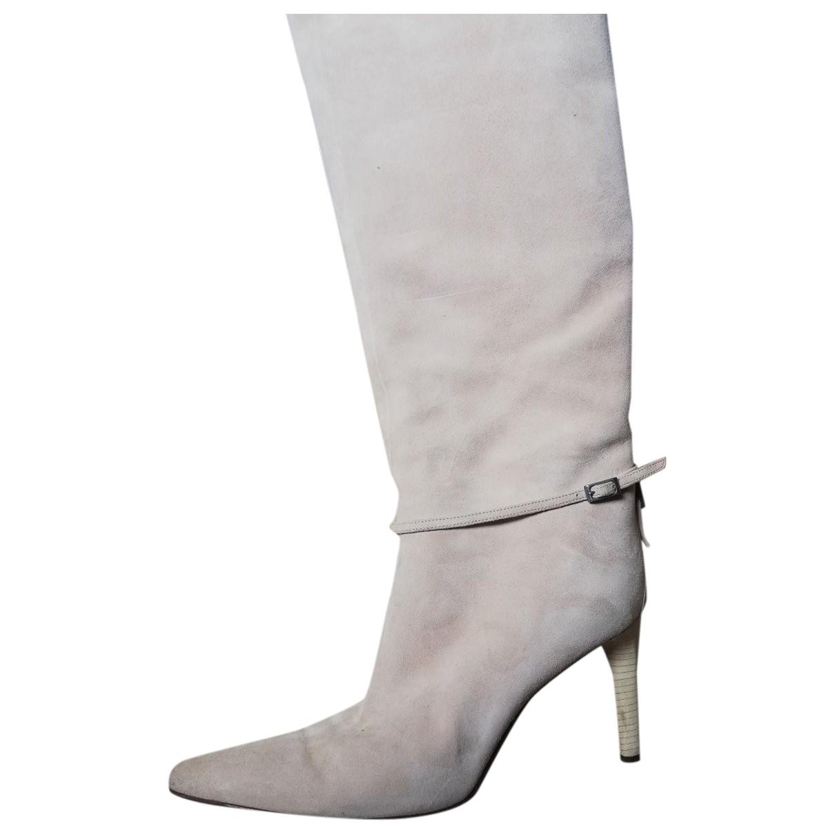 Sergio Rossi - Bottes   pour femme en cuir - beige