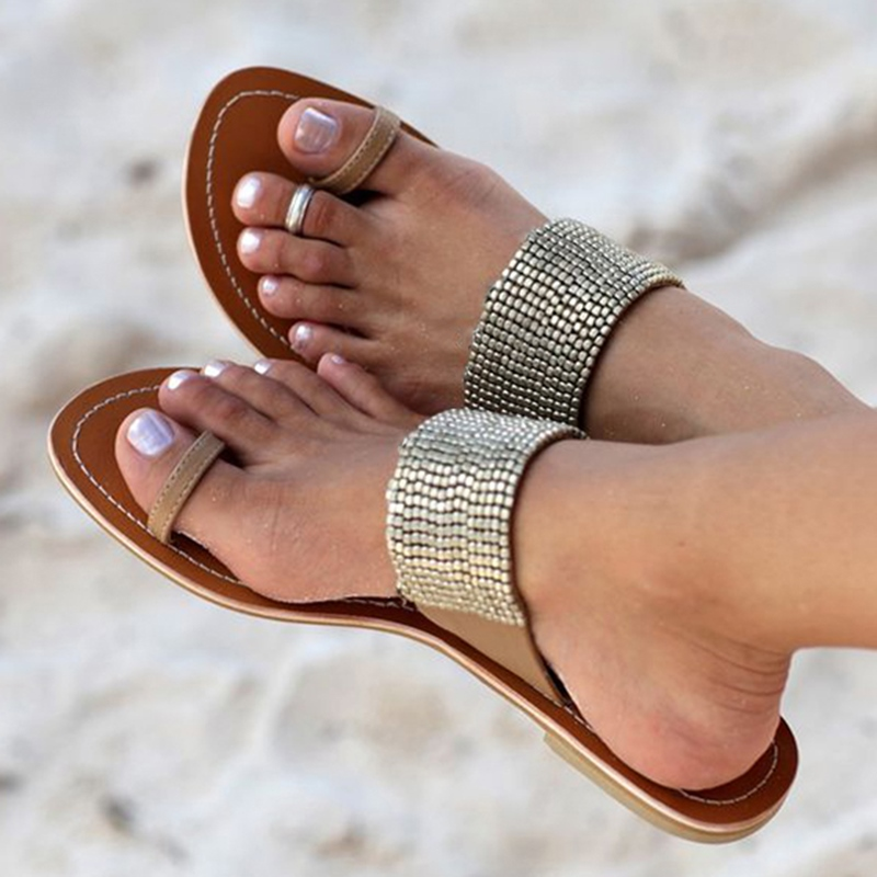 Ericdress Sequin Patchwork Slip-On Toe Ring Flat Sandals
