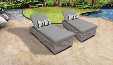 Florence Collection FLORENCE-2x-GREY Set of 2 Chaises - 2 Sets of Grey